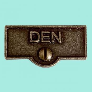 <PRE>Switch Plate Tags DEN Switchplate Name Signs Cast Brass </PRE>zoom2