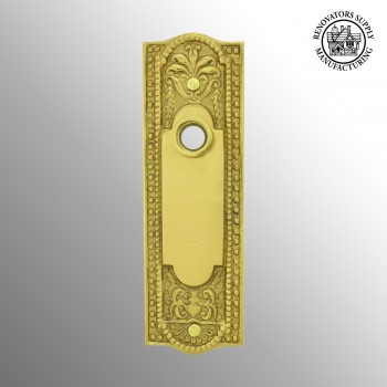 <PRE>Door Back Plate Solid Brass Beaded Without Keyhole 7 1/4inch H </PRE>zoom2
