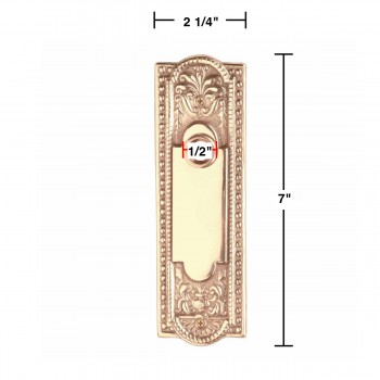 "spec-<PRE>Door Back Plate Solid Brass Beaded Without Keyhole 7 1/4"" H </PRE>"