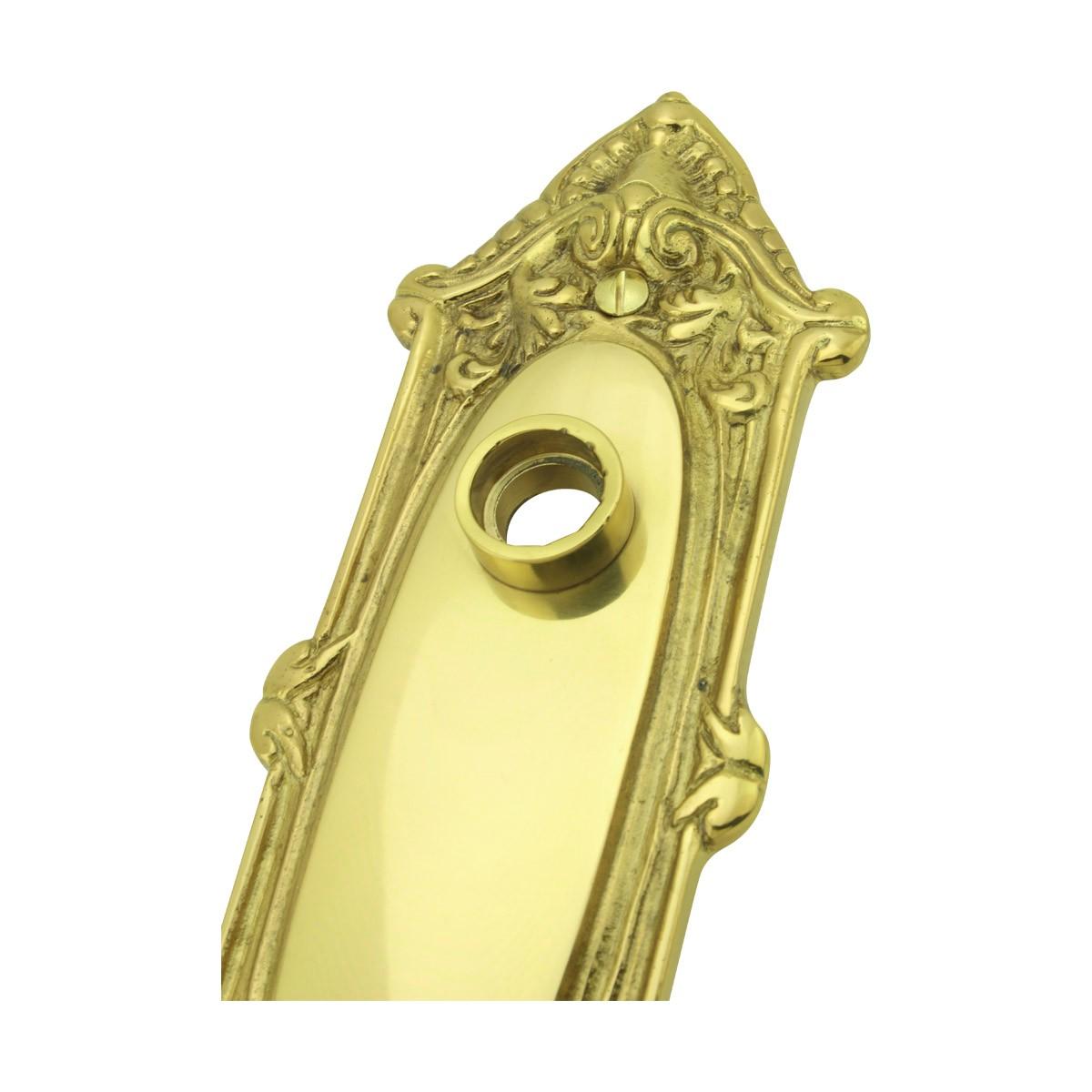 Solid Brass Doorplate, No Keyhole, 7.75in H x 2.625in W Ornate Brass Door Plates Passage Set Ornate Antique Vintage Interior Fleur De Lis 58 Collar Doorknob Doorplate