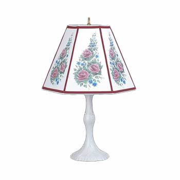 Table Lamp Rose Metal Parchment Shade 25 H x 14 12 W Table Lamp Table Lights Bedside Table Lamp