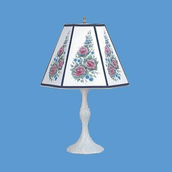 "spec-<PRE>Table Lamp Navy Metal Parchment Shade 25"" H x 14 1/2"" W </PRE>"