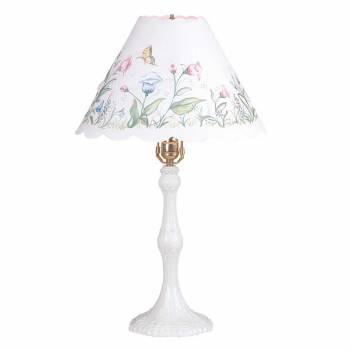Table Lamp White Metal Parchment Shade 25
