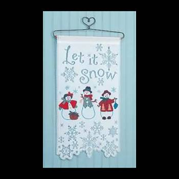 <PRE>Wallhanging White Lace Snowman Tapestry 25&quot;H x 13&quot;W </PRE>