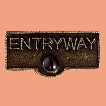 <PRE>Switch Plate Tags ENTRYWAY Name Signs Labels Cast Brass </PRE>zoom2