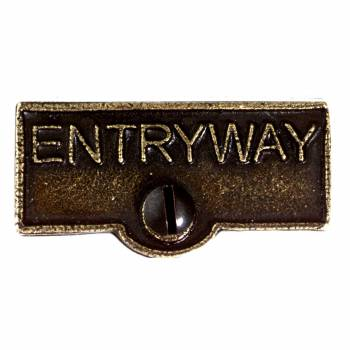Switch Plate Tags ENTRYWAY Name Signs Labels Cast Brass 10098grid