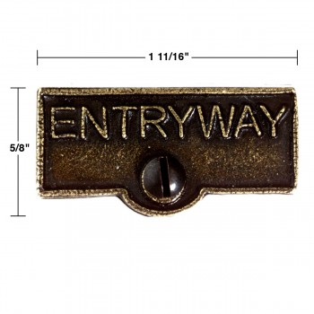 spec-<PRE>Switch Plate Tags ENTRYWAY Name Signs Labels Cast Brass </PRE>