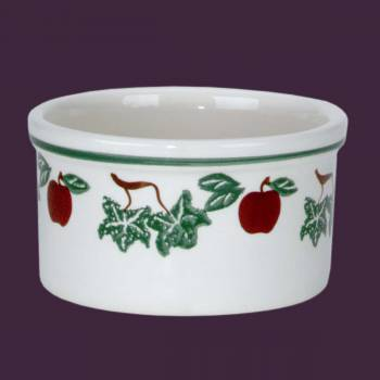 spec-<PRE>Stoneware Bowls White Ceramic Kitchen Bowl Apples 4.5&quot;H </PRE>