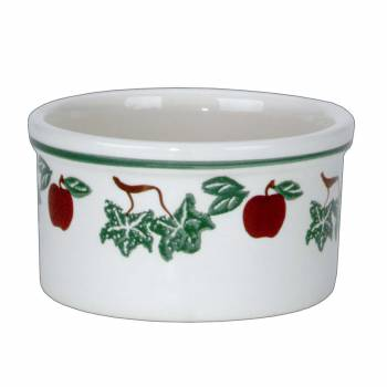 <PRE>Stoneware Bowls White Ceramic Kitchen Bowl Apples 4.5&quot;H </PRE>