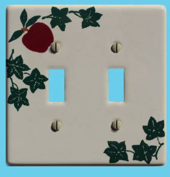 <PRE>White Porcelain Apple Ivy Double Toggle Switch Plate 4 1/2&quot; </PRE>