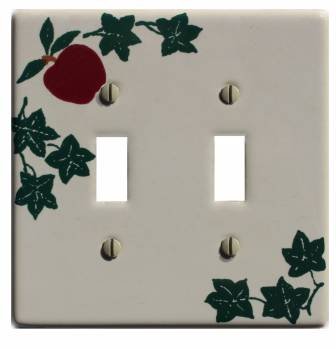 White Porcelain Apple Ivy Double Toggle Switch Plate 4 1/2
