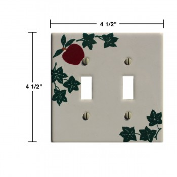 spec-<PRE>White Porcelain Apple Ivy Double Toggle Switch Plate 4 1/2&quot; </PRE>