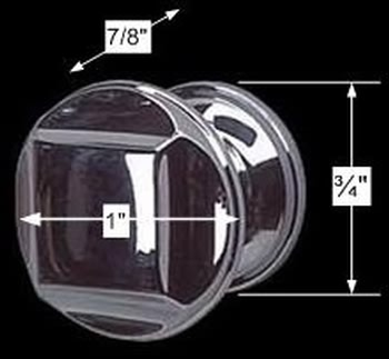 spec-<PRE>Cabinet Knob Bright Chrome 1&quot; Dia X 7/8&quot; Proj </PRE>