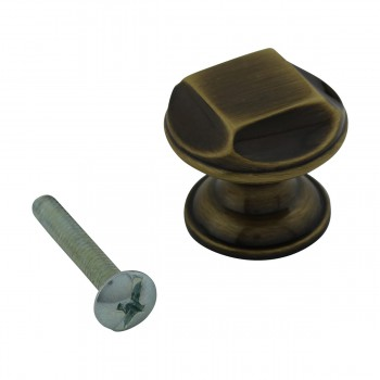 "spec-<PRE>Cabinet Knob Antique Solid Brass 1"" Dia </PRE>"