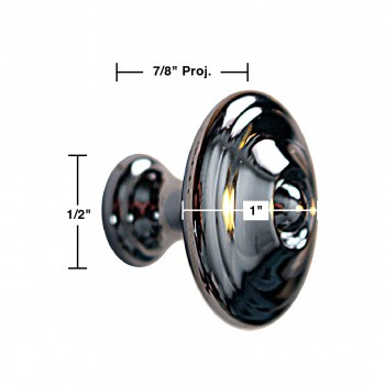 "spec-<PRE>Cabinet Knob Bright Chrome 1"" Dia X 7/8"" Proj </PRE>"