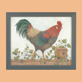 Framed Print Rooster Art 18.5H x 22.5W Wall Prints Framed Art Decoratvie Framed Art