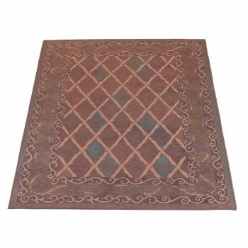 Rectangular Area Rug 6' x 4' Brown Chenille 10269grid
