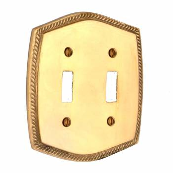Double Toggle Switch Plate Bright Brass Colonial Roped