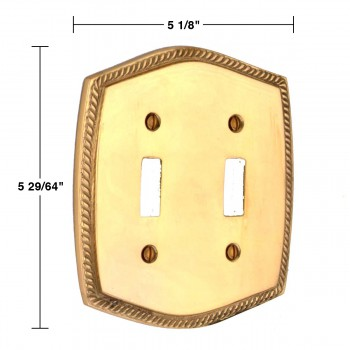 spec-<PRE>Switchplate Bright Solid Brass Double Toggle </PRE>