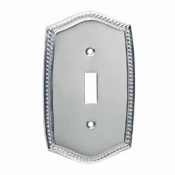 Switchplate Roped Chrome Single Toggle/Dimmer  10320grid