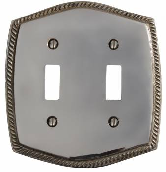 Double Toggle Switch Plate Colonial Roped Chrome