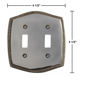 "spec-<PRE>Switchplate Chrome 5 1/4"" H Braided Double Toggle </PRE>"
