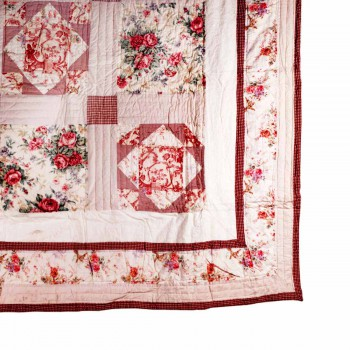 Quilt Red Check Floral Cotton Full/Queen 86