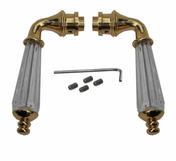 Door Lever Handle Pair  Clear Glass Brass