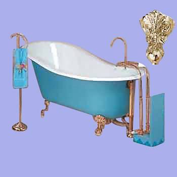 <PRE>White Cast Iron Clawfoot Slipper Tub Gold Iron Eagle Feet </PRE>zoom2