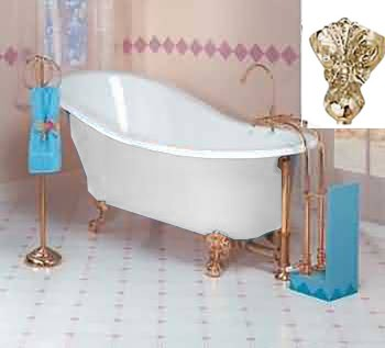 <PRE>White Cast Iron Clawfoot Slipper Tub Gold Iron Eagle Feet </PRE>zoom1