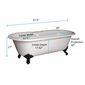 spec-<PRE>Renovator's Supply 67&quot;  Cast Iron Clawfoot Tub Dual End Iron Feet Deck Mount </PRE>
