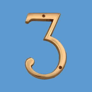 Bright Brass House Number Three (3), 6in Tall Mail Box Numbers Mailbox Numbers House Number