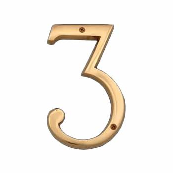 <PRE>Bright Brass House Number Three (3), 6in Tall </PRE>zoom1
