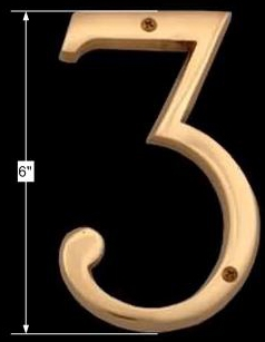spec-<PRE>Bright Brass House Number Three (3), 6in Tall</PRE>