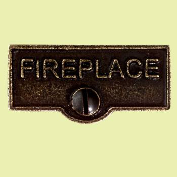 "<PRE>Solid Antique Brass Switchplate inchFireplace"" Label Decorative </PRE>zoom2"