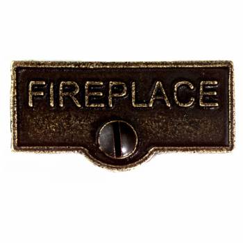 "<PRE>Solid Antique Brass Switchplate inchFireplace"" Label Decorative </PRE>zoom1"