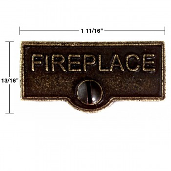 "spec-<PRE>Solid Antique Brass Switchplate ""Fireplace"" Label Decorative</PRE>"