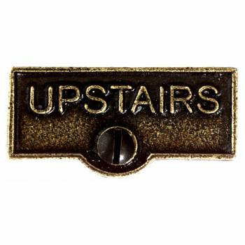 Switch Plate Tags UPSTAIRS Name Signs Labels Cast Brass 10404grid