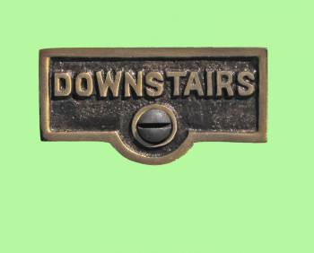 <PRE>Switch Plate Tags DOWNSTAIRS Name Signs Labels Cast Brass </PRE>