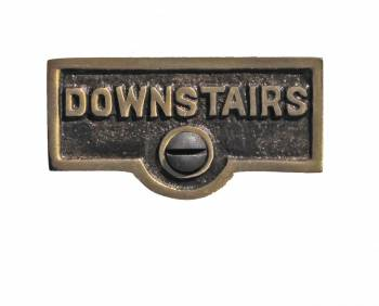 Switch Plate Tags DOWNSTAIRS Name Signs Labels Cast Brass