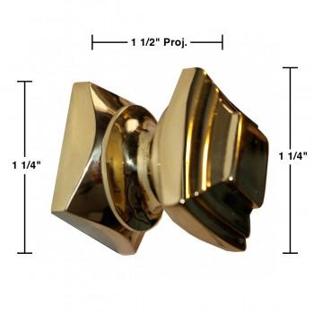 spec-<PRE>Cabinet Knobs Square Solid Cast Brass 1.25&quot;H </PRE>