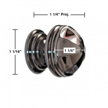 spec-<PRE>Cabinet Knob Nickel Black Solid Brass 1 1/4&quot; Dia </PRE>