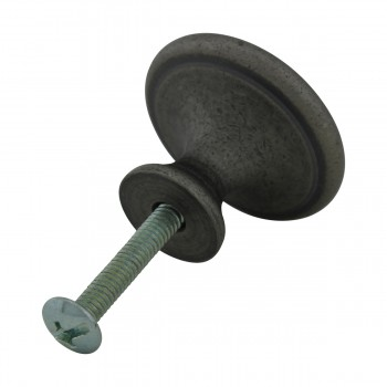 <PRE>Cabinet Knob Pewter Solid Brass 1 1/4inch Dia Colonial </PRE>zoom8