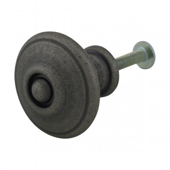 <PRE>Cabinet Knob Pewter Solid Brass 1 1/4&quot; Dia Colonial </PRE>