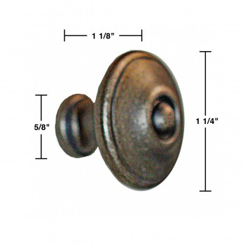 spec-<PRE>Cabinet Knob Pewter Solid Brass 1 1/4&quot; Dia Colonial </PRE>