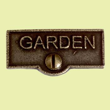 <PRE>Switch Plate Tags GARDEN Name Signs Labels Cast Brass </PRE>zoom2