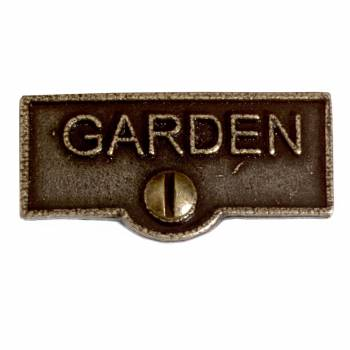 Switch Plate Tags GARDEN Name Signs Labels Cast Brass 10438grid