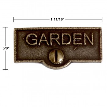 spec-<PRE>Switch Plate Tags GARDEN Name Signs Labels Cast Brass </PRE>