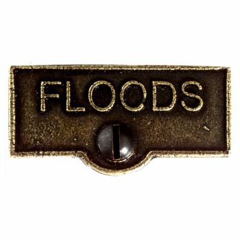 Switch Plate Tags FLOODS Name Signs Labels Cast Brass 10439grid