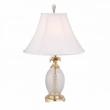 Crystal Pineapple Table Lamp Clear INCLUDES Shade Brass Trim